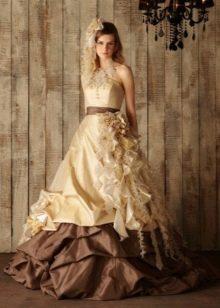 Шоколадно-бежевое платье