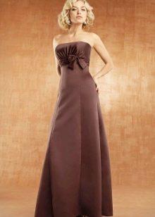 Длинное платье шоколадного цвета