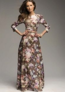 Платье шоколадного цвета с розово-сиреневым цветочным принтом