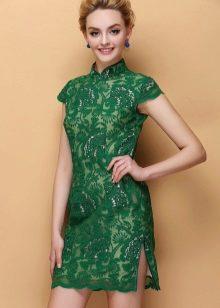 Зеленое короткое кружевное платье ципао