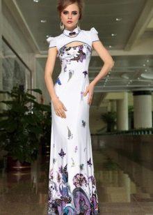 Длинное платье с принтом в китайском стиле