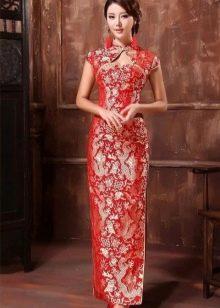 Длинное платье красное в китайском стиле