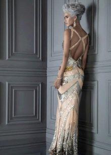 Платье в стиле диско с открытой спиной в пол
