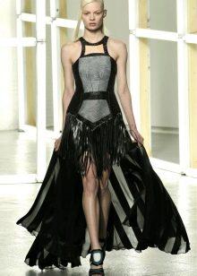 Выпускное короткое платье в стиле рок со съемной юбкой