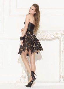 Выпускное короткое платье в стиле рок кожаное пышное