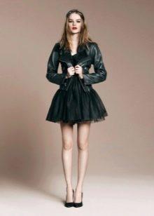 Платье-пачка с кожаной курткой