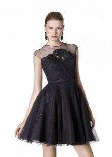 Черное кружевное пышное платье в стиле Шанель