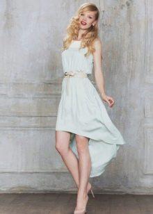 Мятное платье короткое спереди длинной сзади
