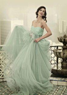 Свадебное мятное платье