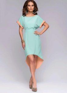 Мятное платье с персиковыми вставками