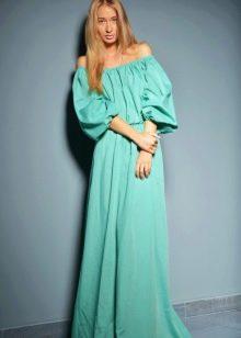 Мятное платье с пышным рукавом