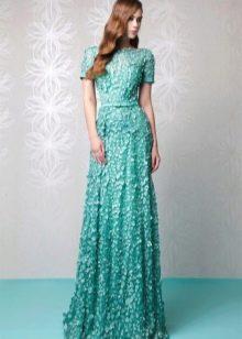 Мятное платье с кружевом