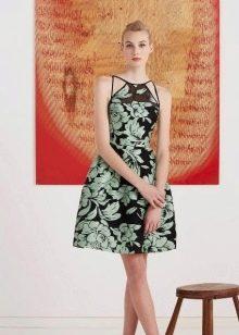 Черно-мятное платье