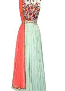 Бирюзовое платье с оранжевым