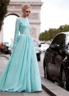 Мятное платье А-силуэта