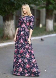 Платье с цветочным принтом в пол с рукавами