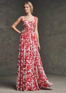 Платье а-силуэта на бретелях в цветочек