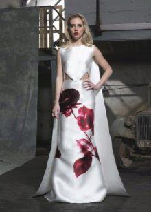 Платье с крупным цветочным принтом  в пол