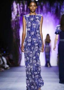 Цветочное платье-футляр синее с белым узором