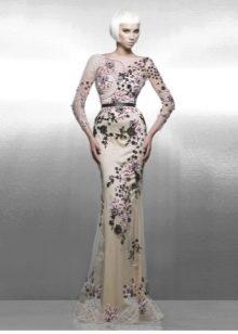 Вечернее платье в стиле нюд в цветочек