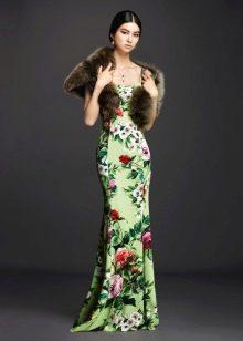 Платье с цветочным принтом зеленое русалка