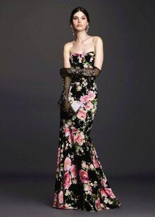 Платье с цветочным принтом на бретелях русалка