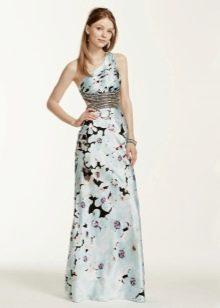 Цветочное платье на одно плечо