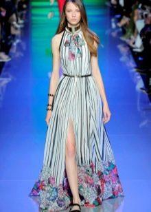 Полосатое платье с цветочным принтом