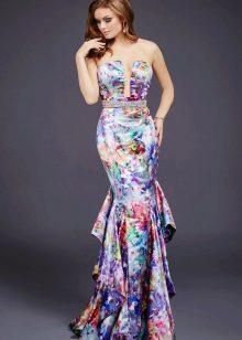 Цветочное платье русалка с пышным хвостом
