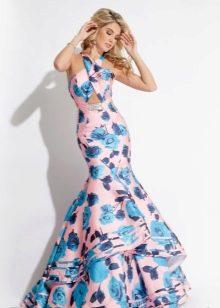 Цветочное платье русалка со сложным кроем