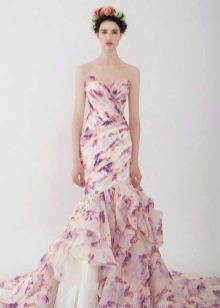 Цветочное платье русалка с драпировкой