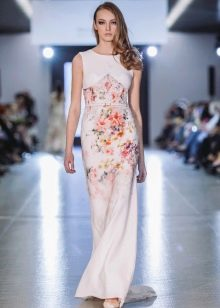 Платье с цветочным принтом длинное