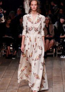 Платье а-силуэта с рукавами с цветочным узором