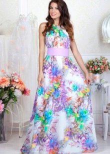 Сарафан а-силуэта короткое с цветочным узором