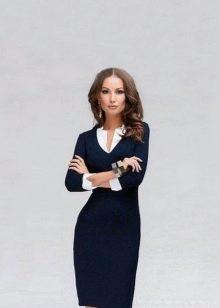 """Синее платье - офисный вариант для женщин с фигурой """"песочные часы"""""""