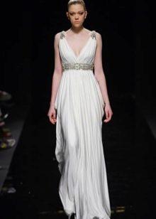 Белое греческое платье с драпировкой и стразами