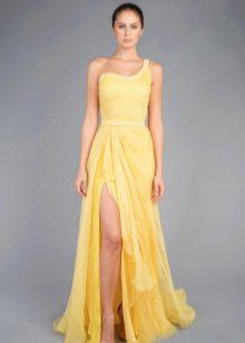 Греческое платье на одно плечо желтое
