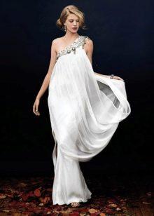 Свадебное платье на одно плечо со стразами в греческом стиле
