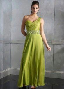 Салатневое греческое платье с одной бретелью