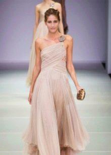Греческое платье в пол для выпускного на одно плечо