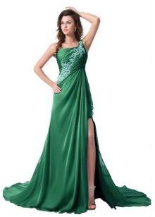 Зеленое греческое платье с разрезом