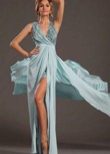Голубое греческое платье с разрезом