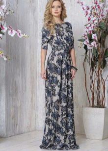 Платье трикотажное в пол с рукавами