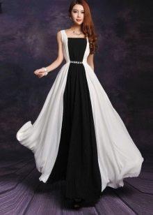 Черно-белое длинное платье