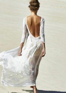 Длинное шифоновое платье с кружевом и с открытой спиной