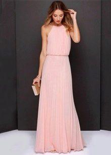 Длинное платье с юбкой и топом плиссе