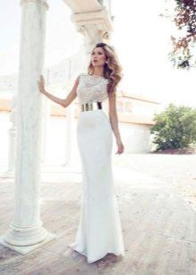 Белые кружевные платья в пол