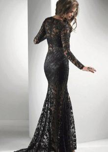 Кружевное черное платье в пол