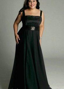 Длинное в пол платье на бретелях для полных