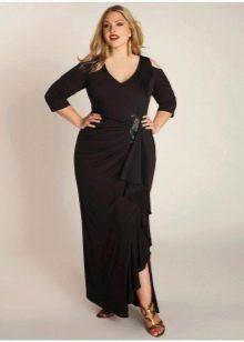 Черное длинное платье для полной девушки (женщины)